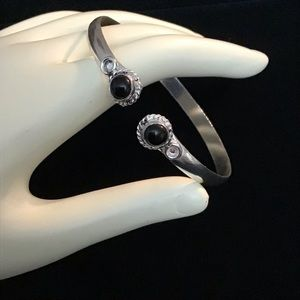 Black Onyx Cuff Bangle Bracelet